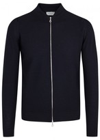 John Smedley Midnight Textured-knit Wool Bomber Jacket