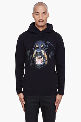 Givenchy Black Rottweiler Print Hoodie