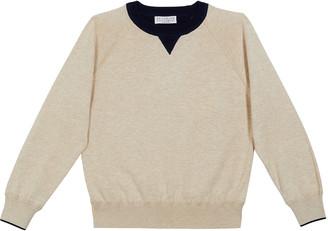 Brunello Cucinelli Boy's Raglan-Sleeve Cotton Crewneck Sweater w/ Contrast Collar, Size 4-6