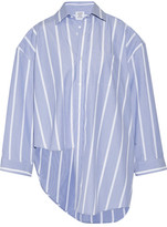 Vetements Oversized Asymmetric Striped Cotton-poplin Shirt - Blue
