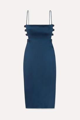 Cushnie Cutout Hammered-satin Midi Dress - Navy
