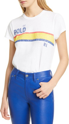 Polo Ralph Lauren Rainbow Stripe Logo Cotton Tee