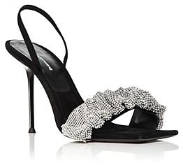 Alexander Wang Women's Julie Square Toe Rhinestone Ruched Strap High Heel Slingback Sandals