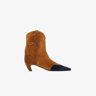 KHAITE brown Dallas 40 suede Western ankle boots