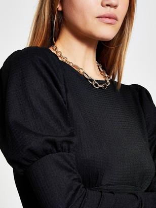 River Island Puff Sleeve Midi Dress - Black