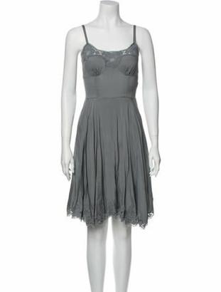 Dolce & Gabbana Silk Knee-Length Dress Grey