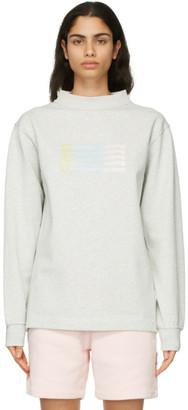 Alexander Wang Grey Wide Neck Puff Logo Long Sleeve T-Shirt