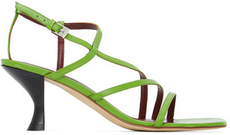 STAUD Green Nappa Gita Heeled Sandals