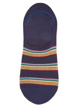 Paul Smith Striped Cotton-blend Invisible Socks - Navy