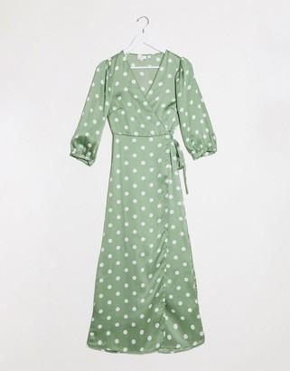 Vila wrap midi dress with polka dot in green