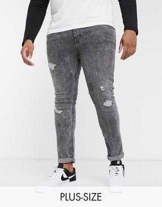 Burton Menswear Big & Tall skinny jeans in light grey