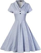 FashionMall Women's Vintage Polka Dot V-neck Short Sleeve Casual Party Cocktail Dress