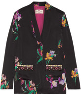 Etro Embroidered Floral-print Satin-crepe Blazer - Black