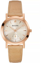 Bulova Rose Goldtone Watch with Leather Strap