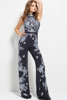 Jovani 50647 Floral Embroidered High Neck Jumpsuit