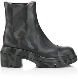 Stuart Weitzman Norah Lug-Sole Camo Leather Chelsea Boots