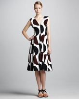 Marni Dot-Print Tea-Length Dress