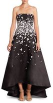 Monique Lhuillier Embroidered Strapless Hi-Lo Gown