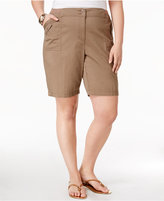 Karen Scott Plus Size Knit Waistband Utility Shorts, Only at Macy's