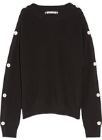 Helmut Lang Cutout Button-detailed Cotton And Cashmere-blend Sweater - Black