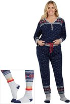 Cuddl Duds Plus Size Pajamas: Lucky Stripes Henley Top