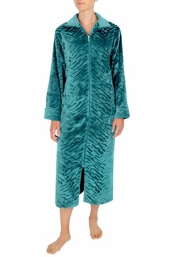 Miss Elaine Sculptured French Fleece Long Zipper Robe