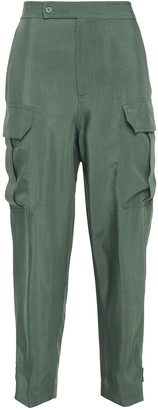 Equipment Twill Cropped High-rise Tapered Pants