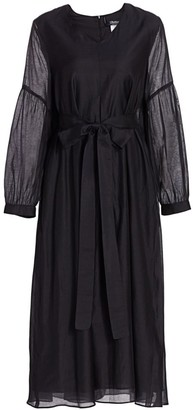 Max Mara Rive Puff-Sleeve Cotton & Silk Midi Dress