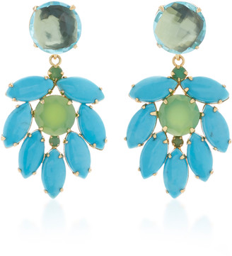 Bounkit Earring Set with Blue Quartz #15 Round Turquoise Marquis and C