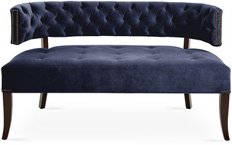 Haute House Babette Settee - Midnight Velvet frame, dark walnut; upholstery, midnight; nailheads, brushed gold