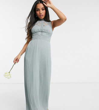 TFNC Petite bridesmaid lace back maxi dress in sage