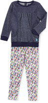 U.S. Polo Assn. Blue Pocket Top & Diamond Leggings - Infant Toddler & Girls