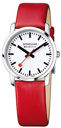 Mondaine Unisex Quartz Watch with White Dial Analogue Display and Red Leather Strap A400.30351.11SBC