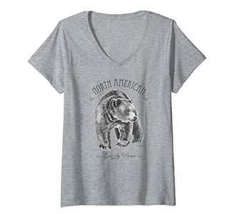 Womens North American Grizzly Bear V-Neck T-Shirt