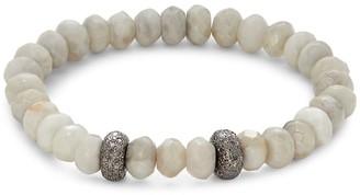 Bavna White Agate Diamond Beaded Bracelet