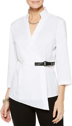 Misook 3/4-Sleeve Stretch Cotton Wrap Blouse w/ Belt Detail