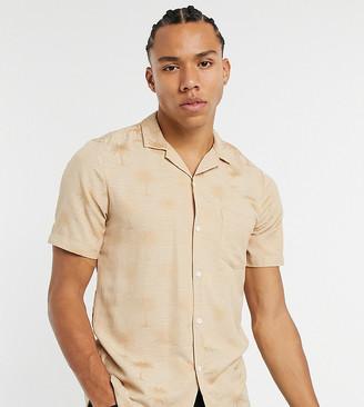 ASOS DESIGN Tall regular shirt with revere collar in slubby palm print