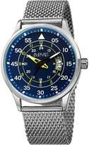 August Steiner Stainless Steel Blue Dial Watch, 43mm