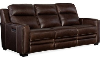 """Hooker Furniture Aviator Genuine Leather Reclining 85"""" Square Arm Sofa Fabric: Brown"""
