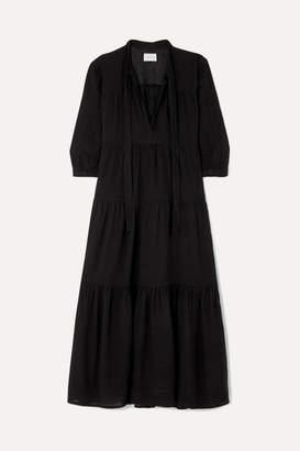Honorine - Giselle Tiered Crinkled Cotton-gauze Midi Dress - Black