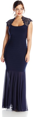 Xscape Evenings Women's Plus-Size Cap Lace Sleeve Banded Gown