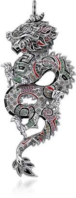 Thomas Sabo Blackened Sterling Silver, Enamel and Glass-ceramic Stones Medium Chinese Dragon Pendant