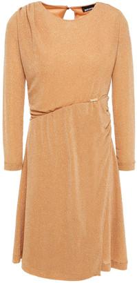 Just Cavalli Ruched Glitter-embellished Stretch-knit Mini Dress