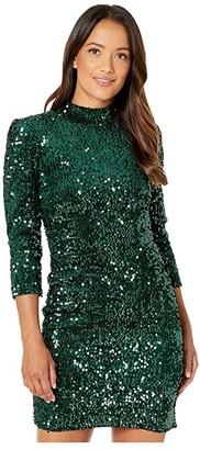 Donna Morgan Stretch Velvet Sequin Long Sleeve Mock Neck Open Back Mini Dress (Green) Women's Clothing