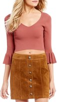 Gianni Bini Dylan Ruffle Bell Sleeve V-Neck Sweater