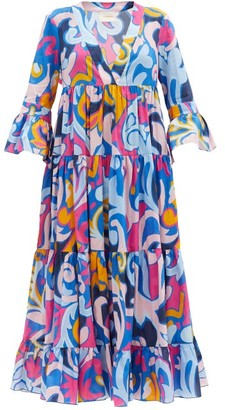 La DoubleJ Jennifer Jane Luna Park-print Cotton Dress - Blue Print
