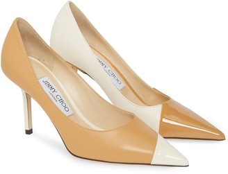Jimmy Choo Love Asymmetrical Patent Leather Pointed Toe Pump