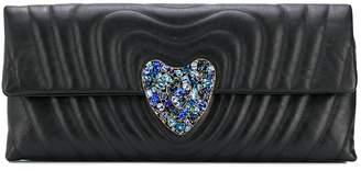 Escada embellished heart motif clutch