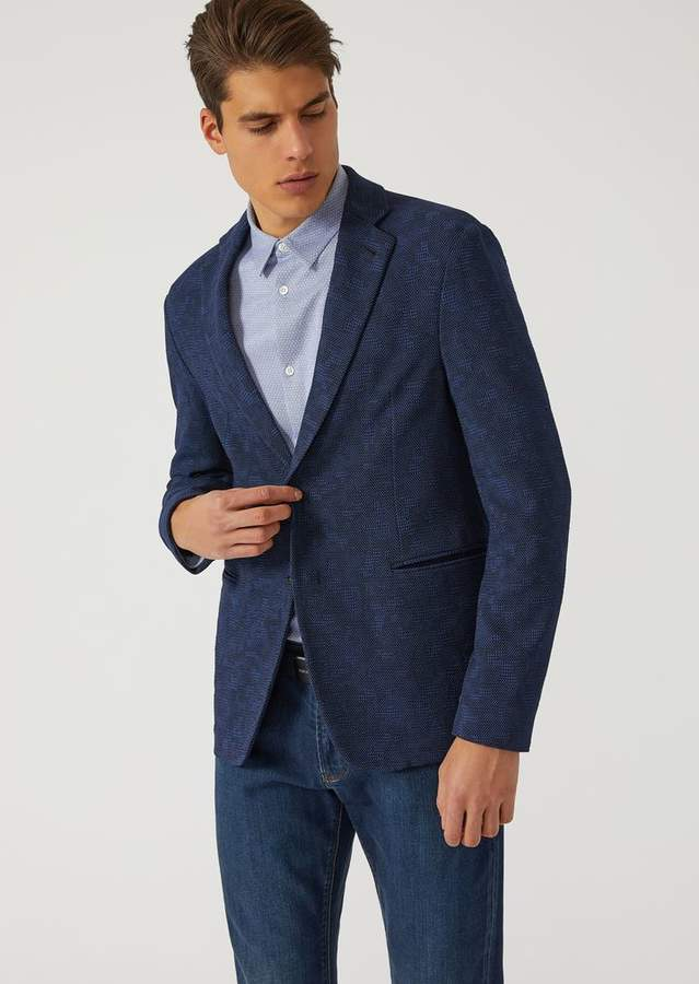 Emporio Armani Jacket In Stretch Jacquard