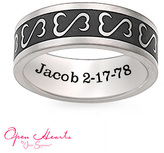 Zales Open Hearts by Jane SeymourTM Personalized Unisex Wedding Band in Titanium with Black Enamel (1 Line)
